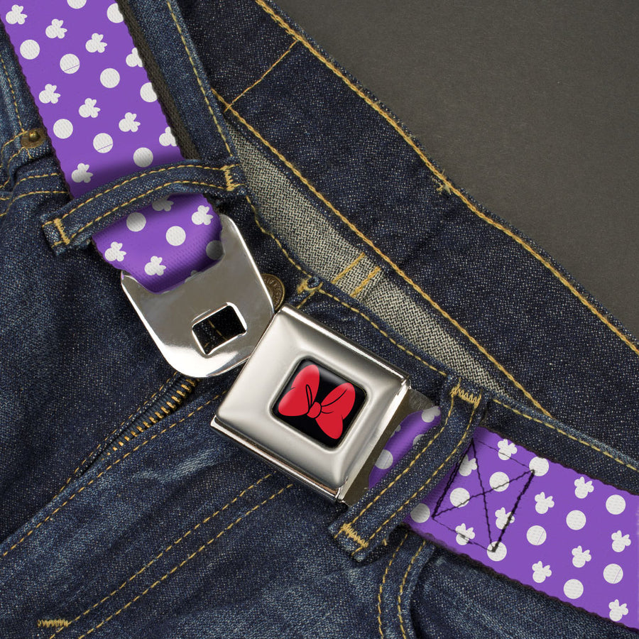 Minnie Mouse Bow Full Color Black/Red Seatbelt Belt - Minnie Mouse Ears Monogram/Dots Purple/White Webbing