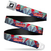 Seatbelt Belt - Dumbo Face DUMBO-THE MIRACLE ELEPHANT/Flags Reds/Blues/Aqua Webbing
