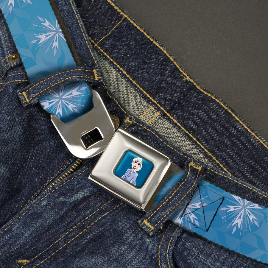 Frozen II Elsa Standing Pose Full Color Blue Seatbelt Belt - Frozen II Snowflakes Blues/Silvers/White/Lavender Webbing