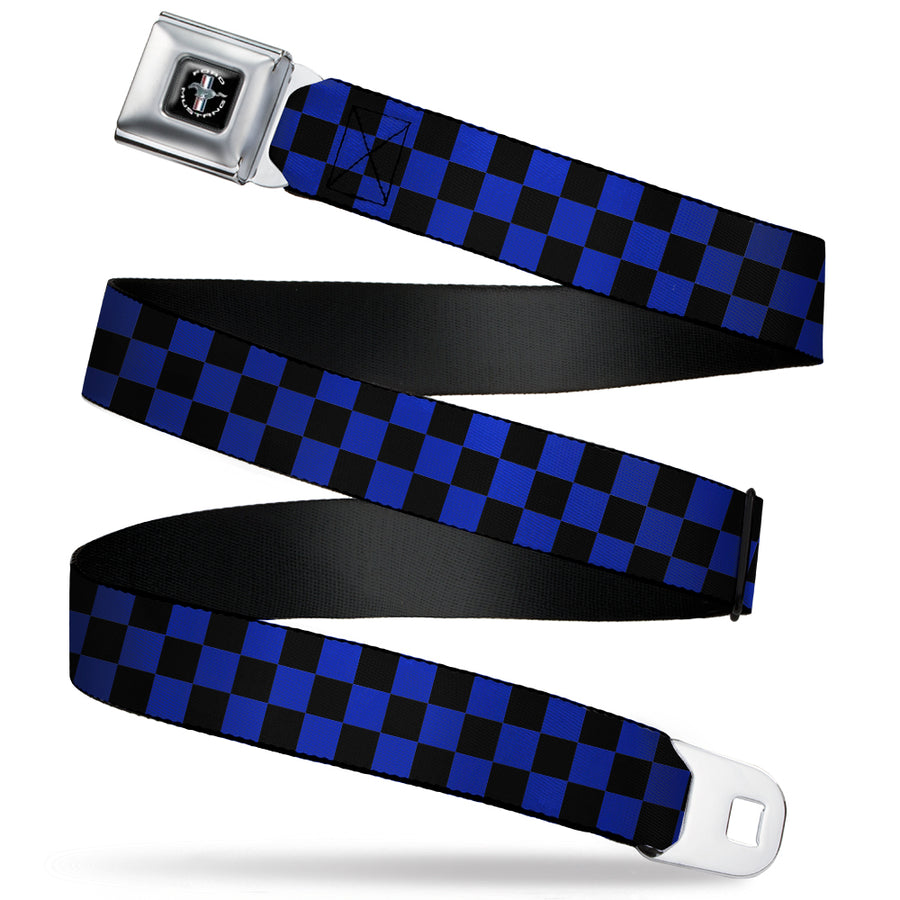 Ford Mustang Emblem Seatbelt Belt - Checker Black/Blue Webbing