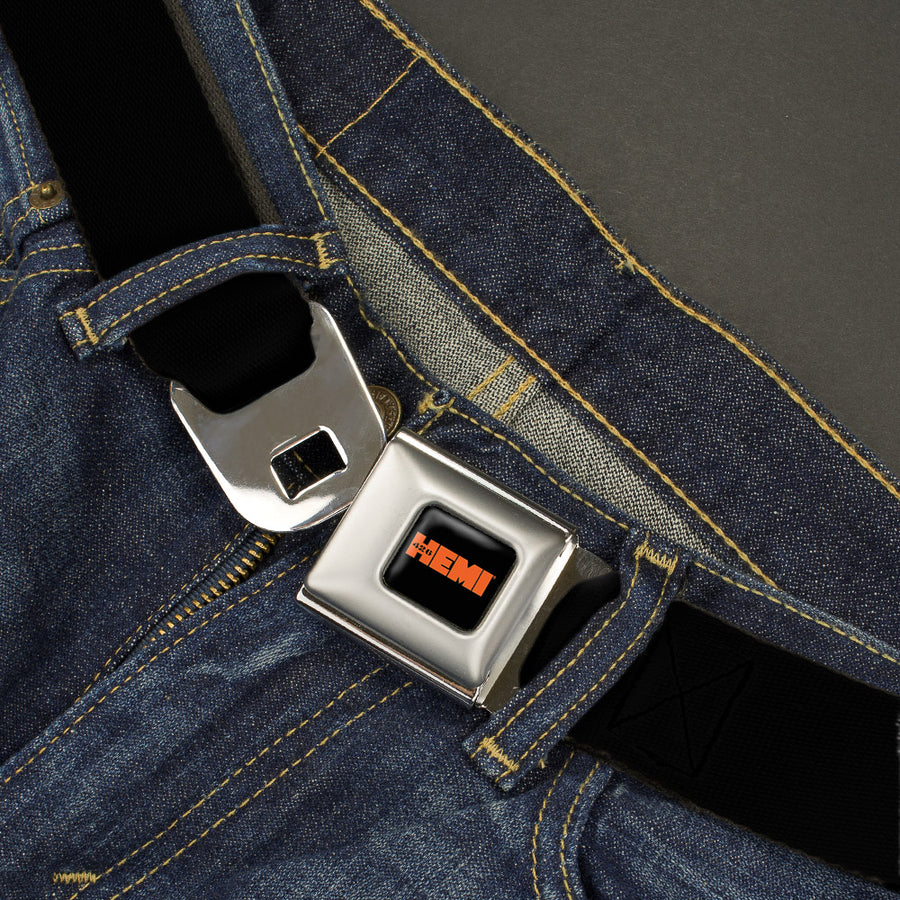 HEMI 426 Logo Full Color Black/Orange -   Seatbelt Belt - Black Webbing