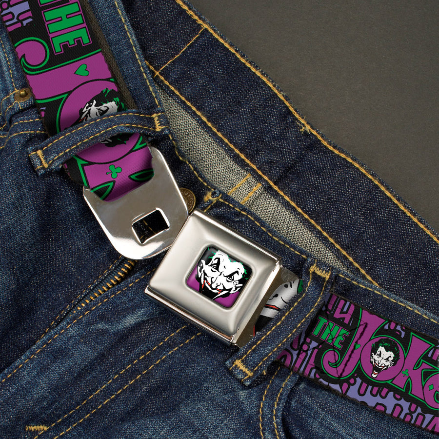 Joker Face Full Color Seatbelt Belt - Joker Face/Logo/Spades Black/Green/Purple Webbing
