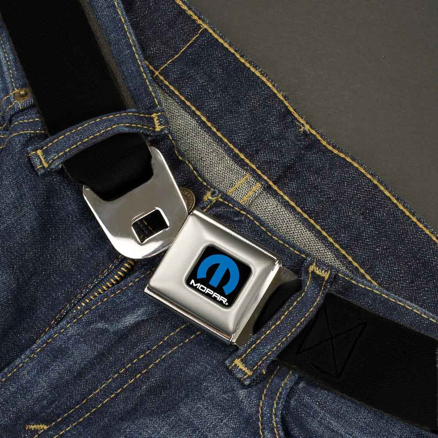 MOPAR Logo Full Color Black/Blue/White -   Seatbelt Belt - Black Webbing