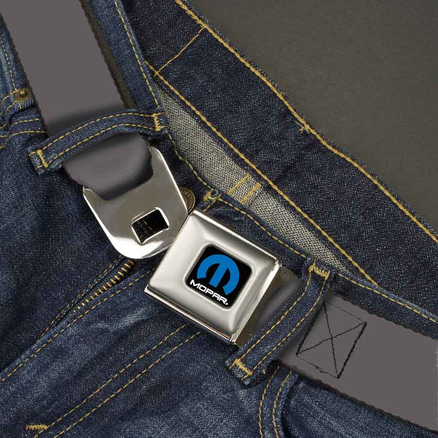 MOPAR Logo Full Color Black Blue White Seatbelt Belt - Charcoal Webbing