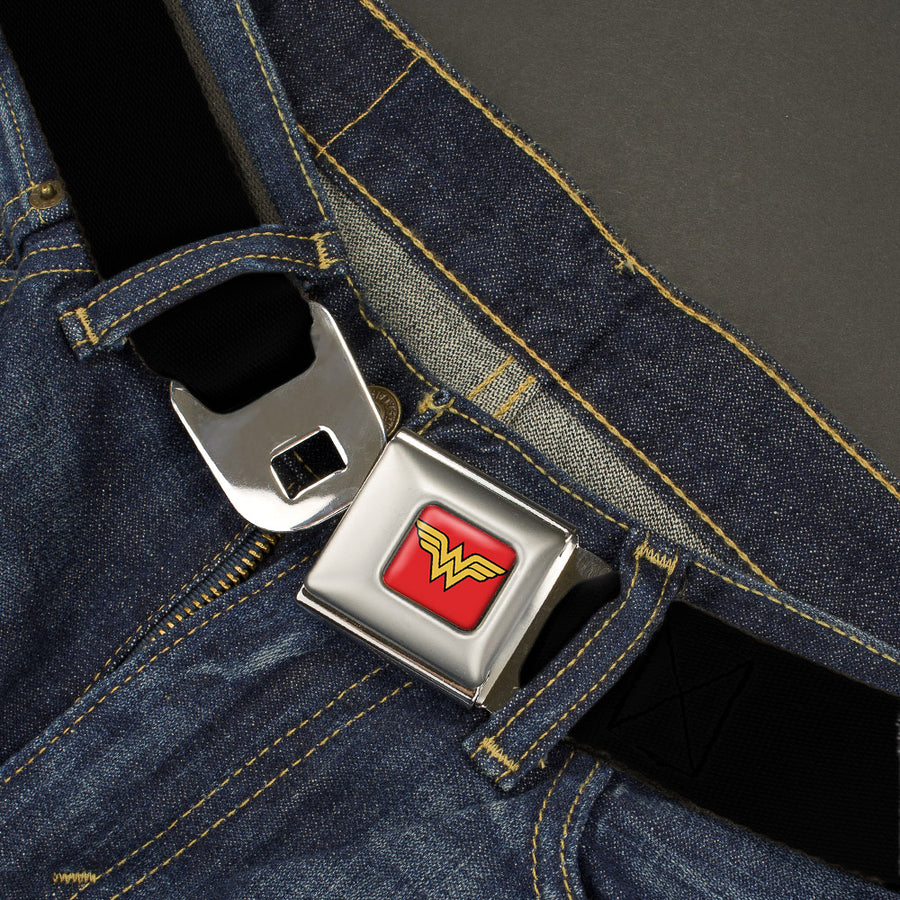 Wonder Woman Logo Full Color Red Seatbelt Belt - Black Webbing