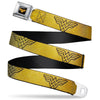 Wonder Woman Logo Reverse Brushed Black Gold Seatbelt Belt - Wonder Woman Logo Metallic Gold/Black Webbing