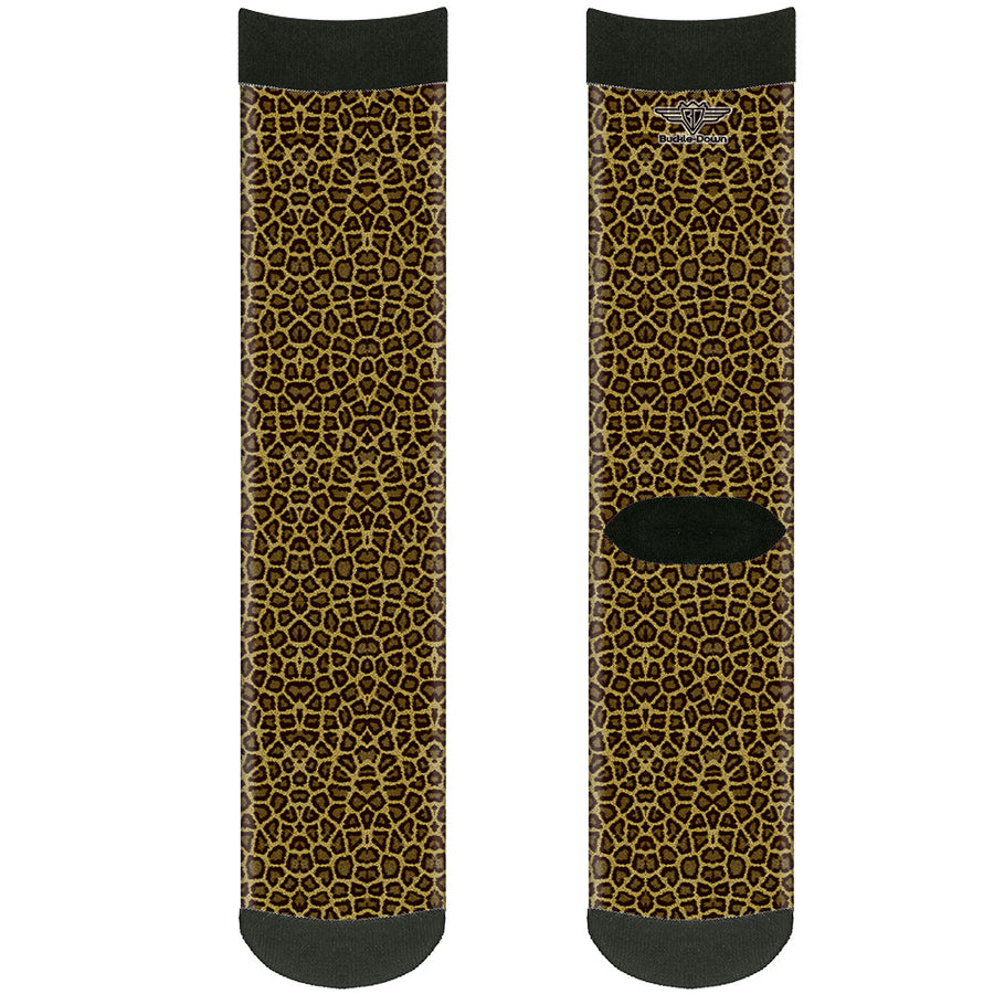 Sock Pair - Polyester - Leopard Brown - CREW