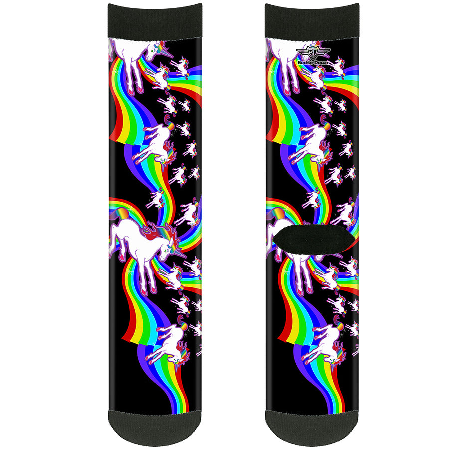 Sock Pair - Polyester - Unicorns/Rainbow Swirl Black - CREW