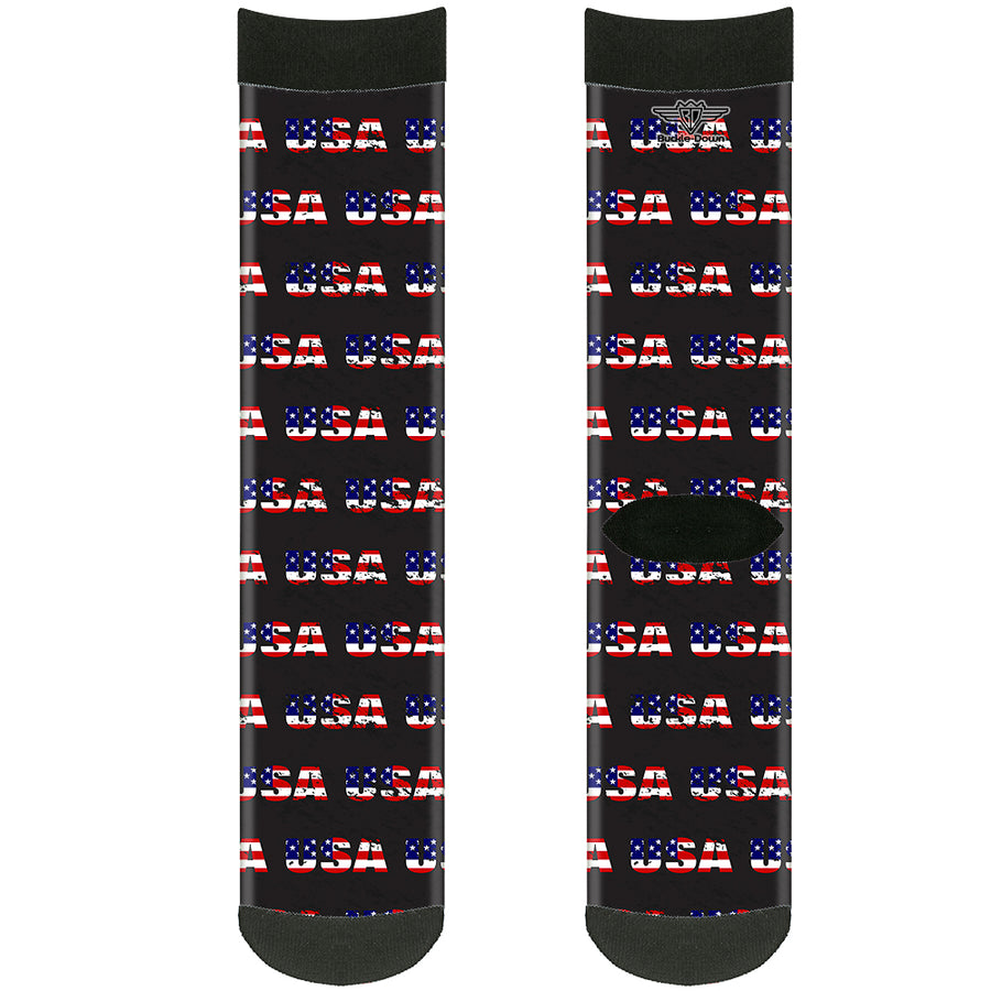 Sock Pair - Polyester - USA w/Star Black/US Flags - CREW