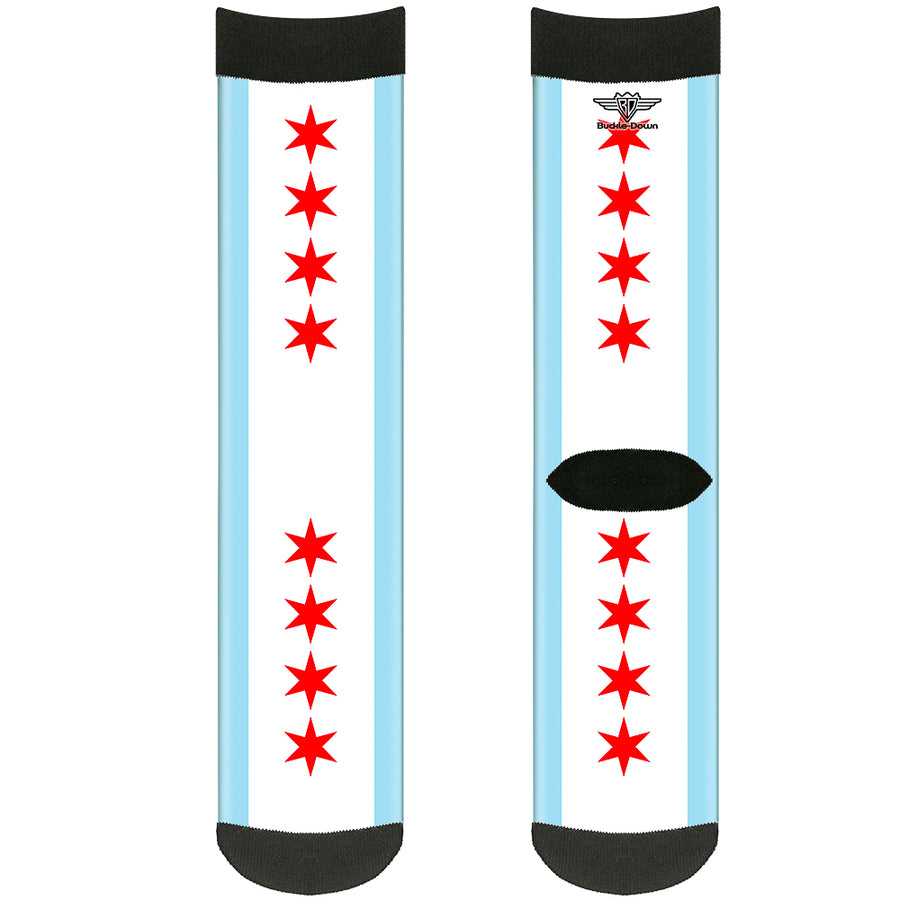 Sock Pair - Polyester - Chicago Flag - CREW