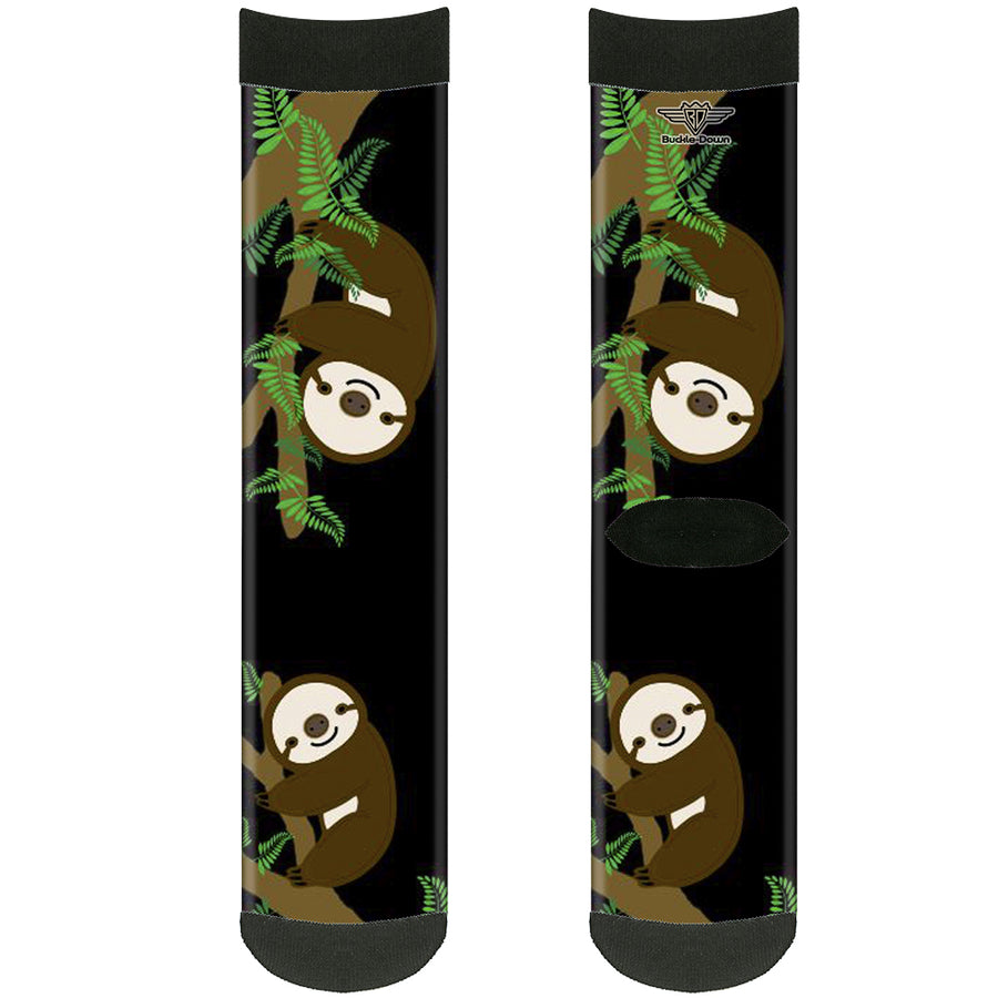 Sock Pair - Polyester - Sloth Face/Hanging Black - CREW