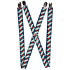 "Suspenders - 1.0"" - Diamond Plaid Blues/Khaki/Red"