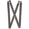 "Suspenders - 1.0"" - SUCCULENTS STACKED GREEN/PINK/ORANGE"
