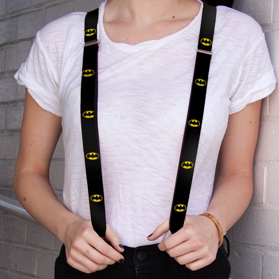 "Suspenders - 1.0"" - Batman Shield Black Yellow"