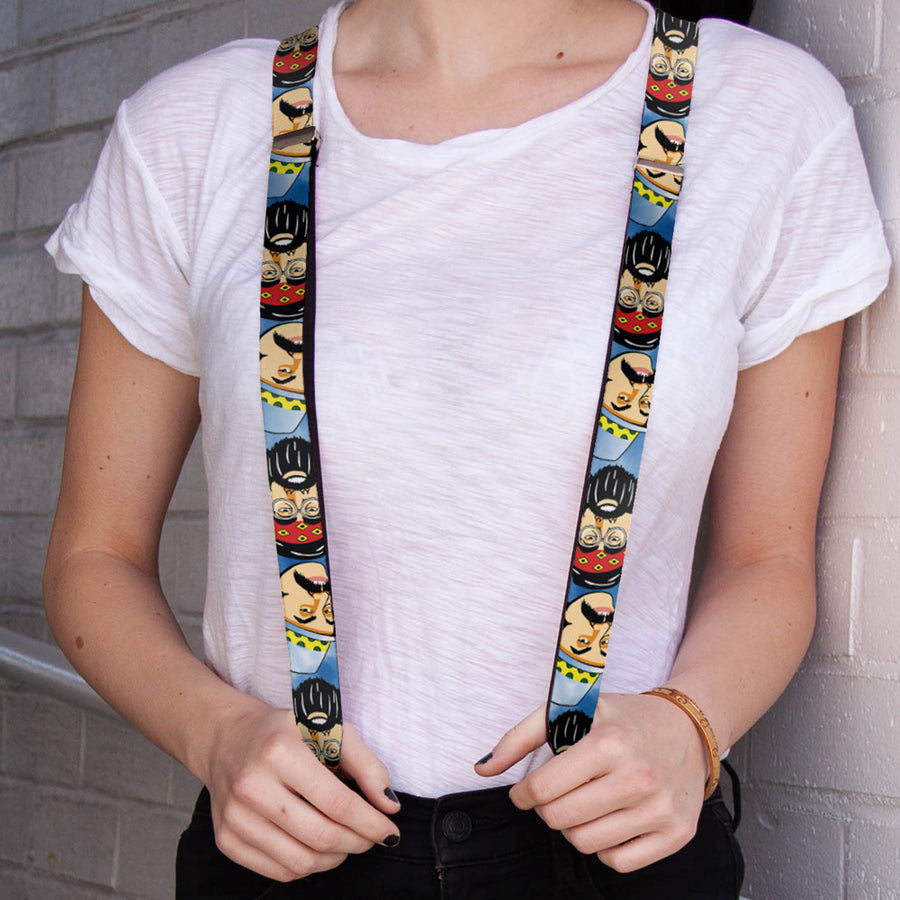 "Suspenders - 1.0"" - Cheech & Chong Caricature Faces3 Tie Dye Blues"