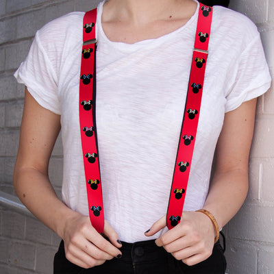 "Suspenders - 1.0"" - Minnie Mouse Silhouette Red Black Polka Dot"