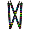 "Suspenders - 1.0"" - Mickey Expressions Black Multi Neon"