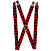 "Suspenders - 1.0"" - Alice in Wonderland Card Suits Red Black"