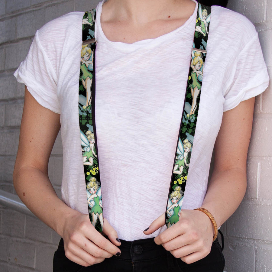 "Suspenders - 1.0"" - Tinker Bell 4-Poses Paint Splatter Black Greens"