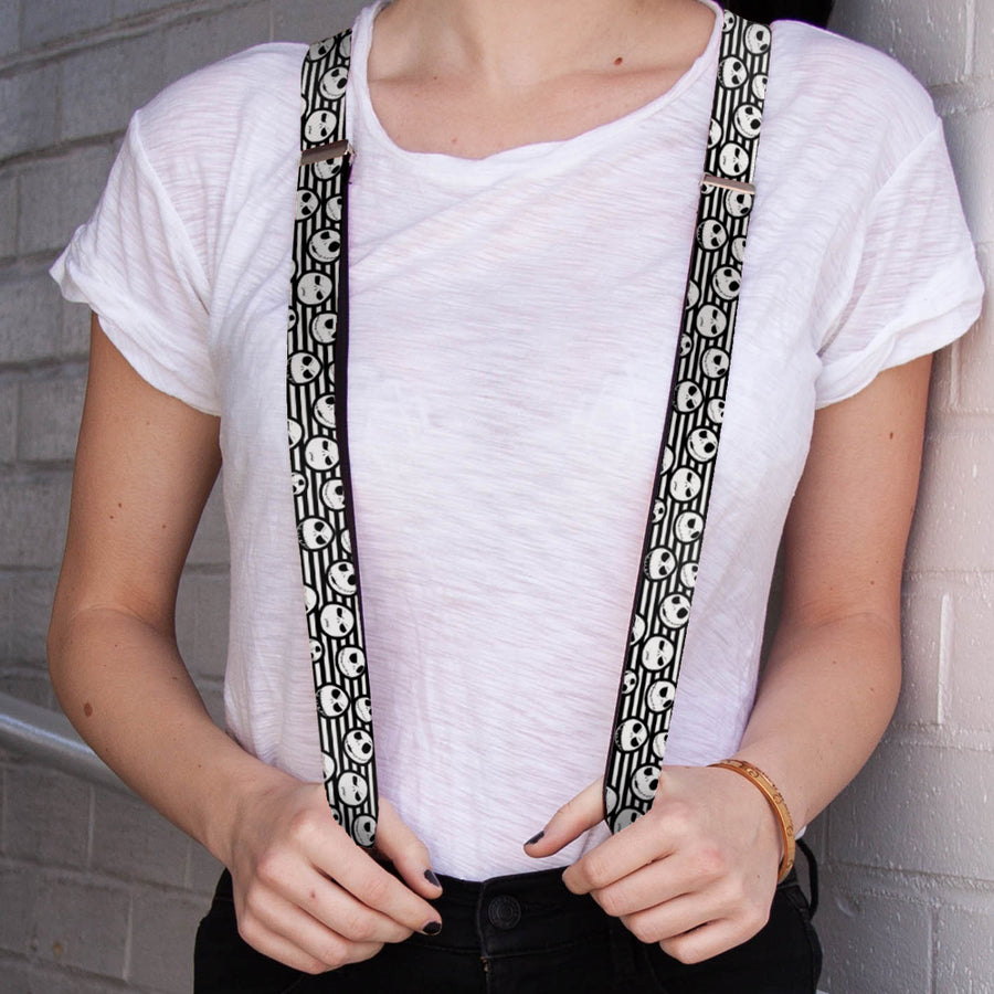 "Suspenders - 1.0"" - Nightmare Before Christmas Jack Expressions Stripe White Black"