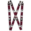 "Suspenders - 1.0"" - Nightmare Before Christmas Jack Face Corpse Pose Bats Reds Black White Grays"