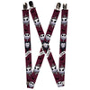 "Suspenders - 1.0"" - Nightmare Before Christmas Jack Face Corpse Pose JACK Banner Reds Black White Grays"