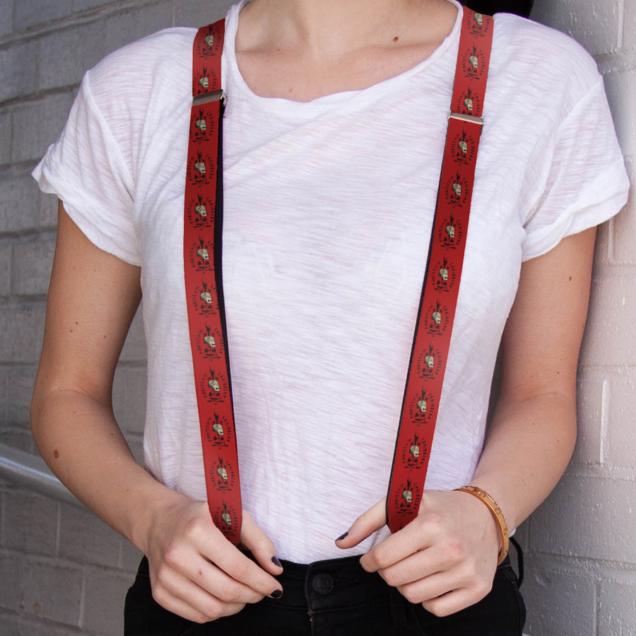 "Suspenders - 1.0"" - PIRATES OF THE CARRIBEAN Jack Sparrow Skull Icon Red Black Gray"