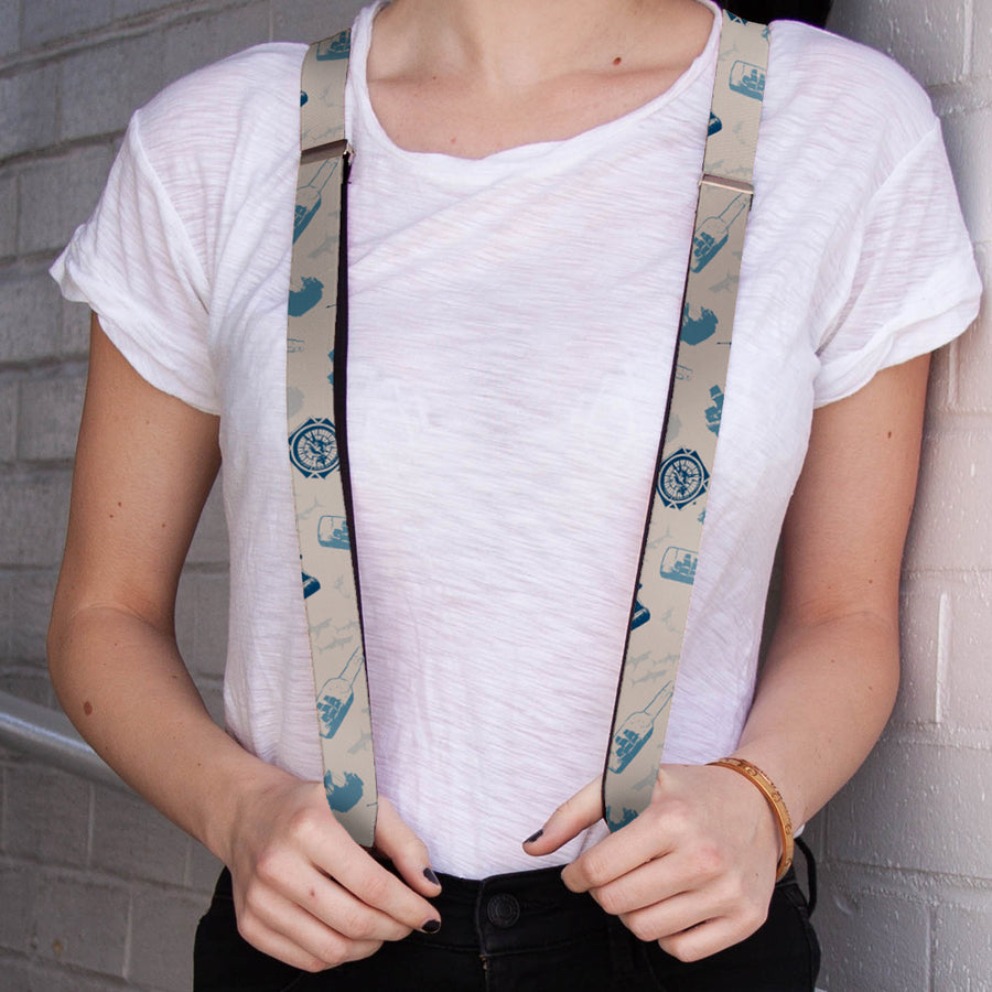 "Suspenders - 1.0"" - Pirates Nautical Elements White Blues"