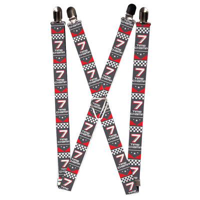 "Suspenders - 1.0"" - Cars 3 ""7 TIME CHAMP"" Banner Gray Red White"
