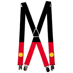 Suspenders Mickey Mouse Bounding Buttons Black Red Yellows 1.0 Inch Wide