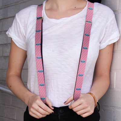 "Suspenders - 1.0"" - Ford Oval w Text PINK REPEAT"