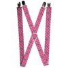 "Suspenders - 1.0"" - Ford Mustang w Bars w Text PINK LOGO REPEAT"