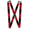 "Suspenders - 1.0"" - Harley Quinn Diamond Blocks2 Red Black Black Red"