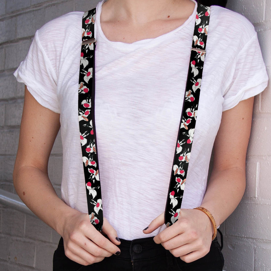 "Suspenders - 1.0"" - Sylvester the Cat Expressions Scattered Black"