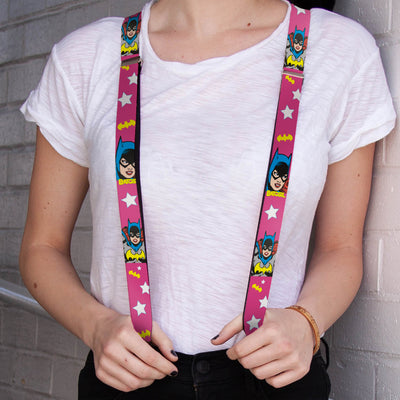 "Suspenders - 1.0"" - BATGIRL Face Pose w Logo & Stars Pink White Yellow"
