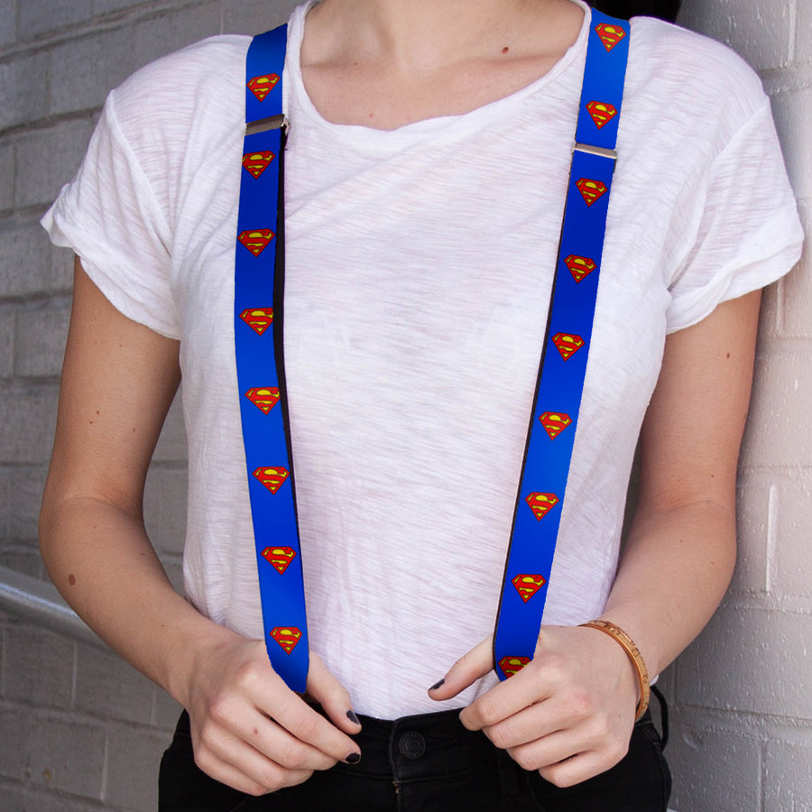"Suspenders - 1.0"" - Superman Shield Blue"