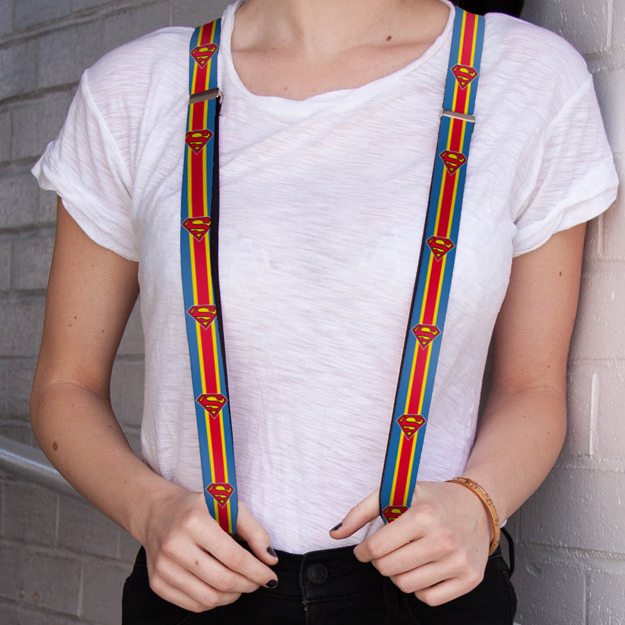 "Suspenders - 1.0"" - Superman Shield Stripe Blue Yellow Red"
