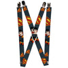 "Suspenders - 1.0"" - Superman Action Pose Scattered Shield Navy Gold Red"