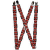 "MARVEL COMICS Suspenders - 1.0"" - Spider-Man Face Black White Blocks"