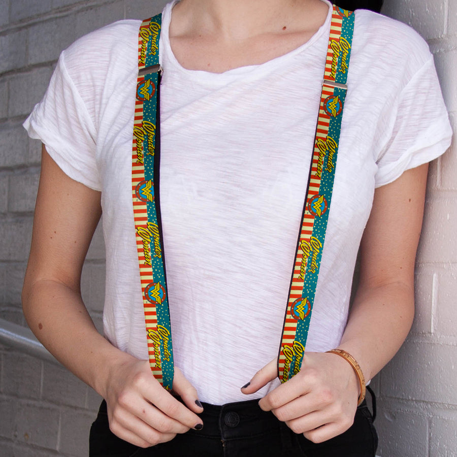 "Suspenders - 1.0"" - WONDER WOMAN Logo Americana Red White Blue Yellow"