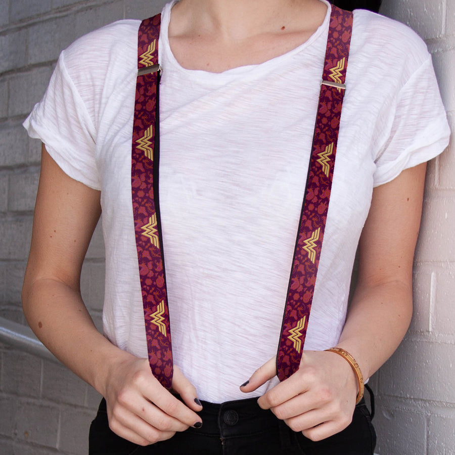 "Suspenders - 1.0"" - Wonder Woman Logo Floral Collage Purple Pinks Gold"