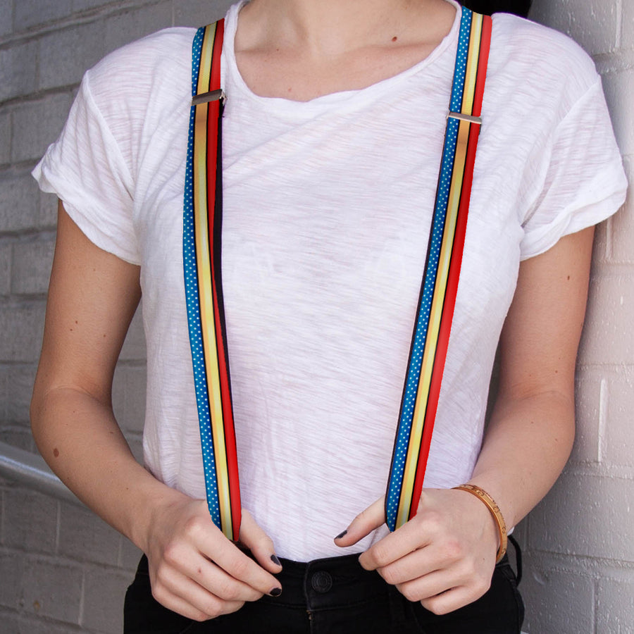 "Suspenders - 1.0"" - Wonder Woman Stripe Stars Red Gold Blue White"