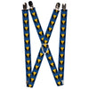 "MARVEL X-MEN Suspenders - 1.0"" - Wolverine Mask Icon Blue Black Yellow"