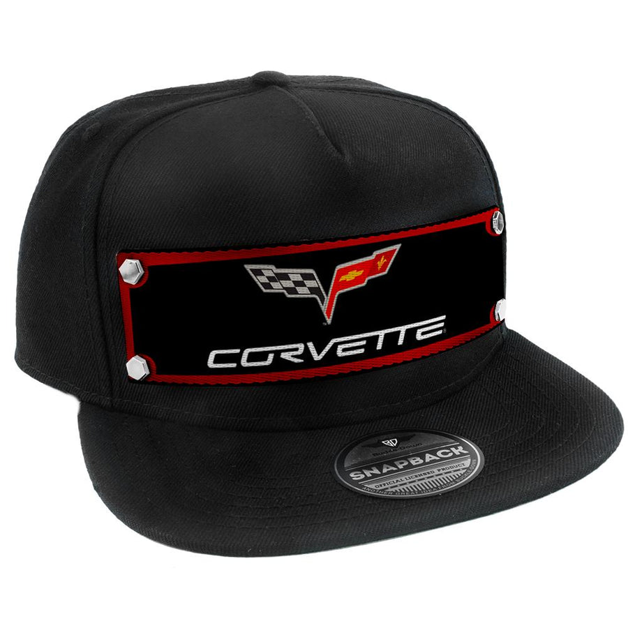 Embellishment Trucker Hat BLACK - Full Color Strap - C6 CORVETTE Logo Red/Black/Gray/White