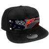 Embellishment Trucker Hat BLACK - Full Color Strap - C6 Emblem Waving American Flag