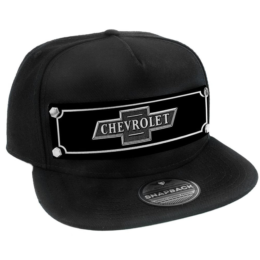 Embellishment Trucker Hat BLACK - Full Color Strap - CHEVROLET Bowtie Emblem Black/White