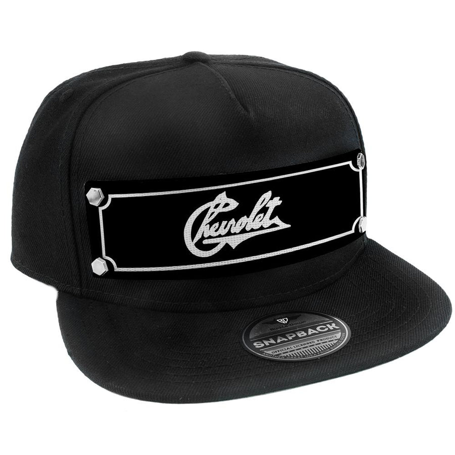Embellishment Trucker Hat BLACK - Full Color Strap - CHEVROLET Heritage Script Black/White