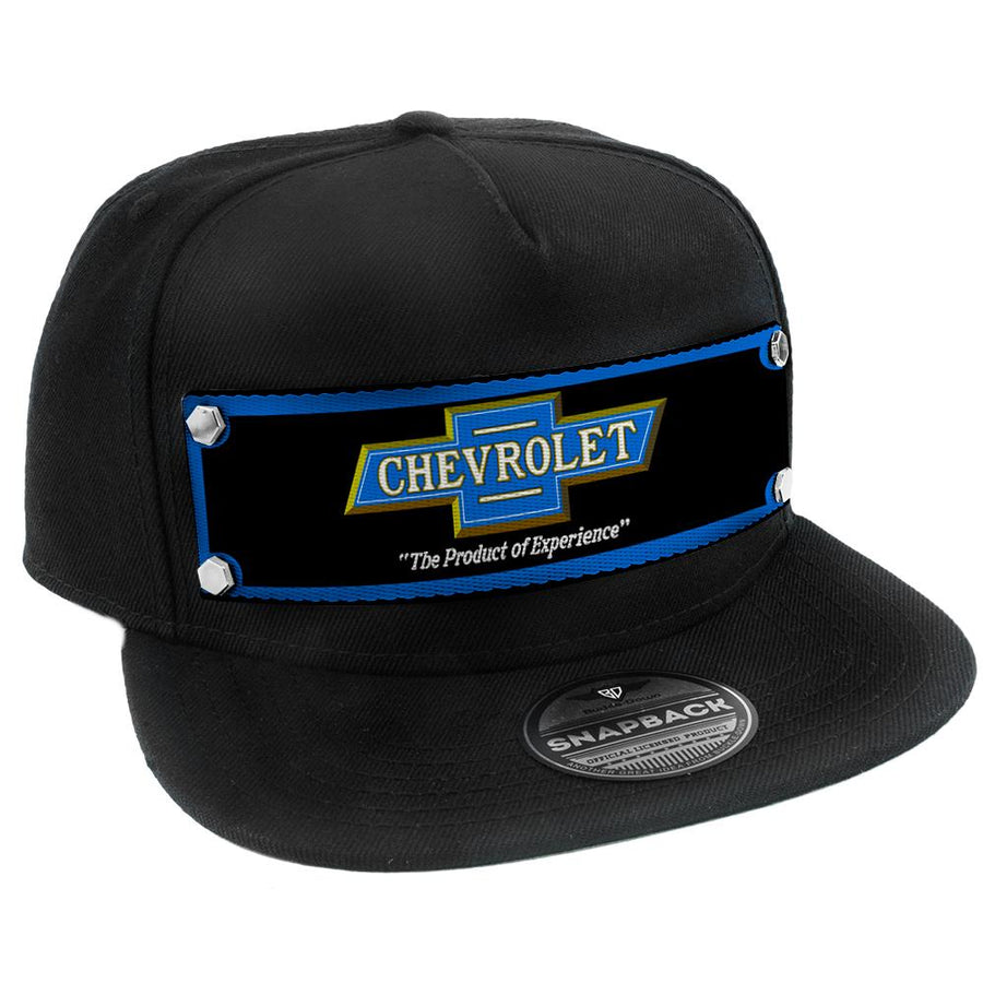 Embellishment Trucker Hat BLACK - Full Color Strap - 1916 CHEVROLET Bowtie THE PRODUCT OF EXPERIENCE Blue/Black/Gold/White