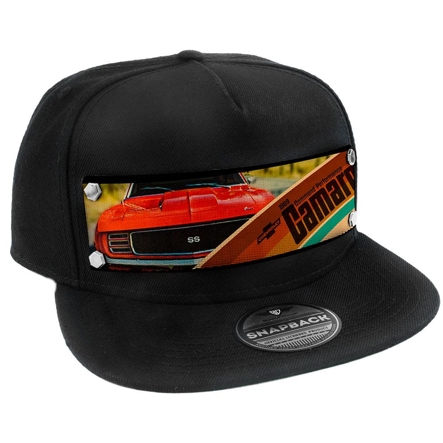 Embellishment Trucker Hat BLACK - Full Color Strap - 1969 CHEVROLET CAMARO COMMAND PERFORMANCE Grill View