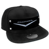Embellishment Trucker Hat BLACK - Full Color Strap - 1955-57 CHEVROLET V Emblem Black/Silver
